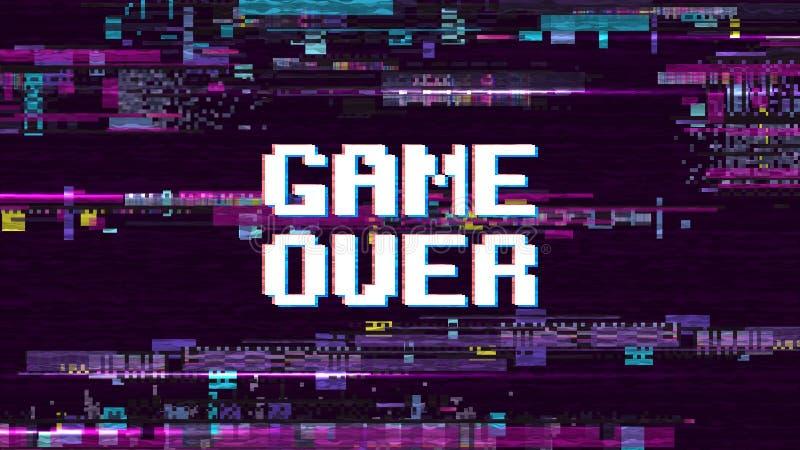 Juego sobre fondo fantástico del ordenador con la pantalla retra del vector del efecto del ruido de la interferencia ilustración del vector
