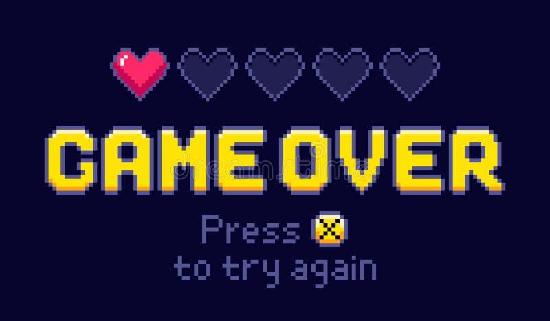 Juego sobre la pantalla Los juegos retros del pixel, intentan otra vez y ejemplo del vector de la vida del último del juego 8bit ilustración del vector