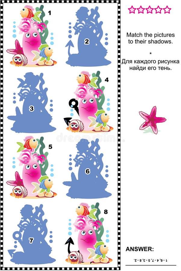 Juego temático subacuático de la sombra stock de ilustración