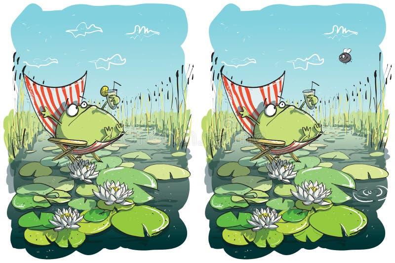 Juego divertido de la representación visual de las diferencias de la rana stock de ilustración