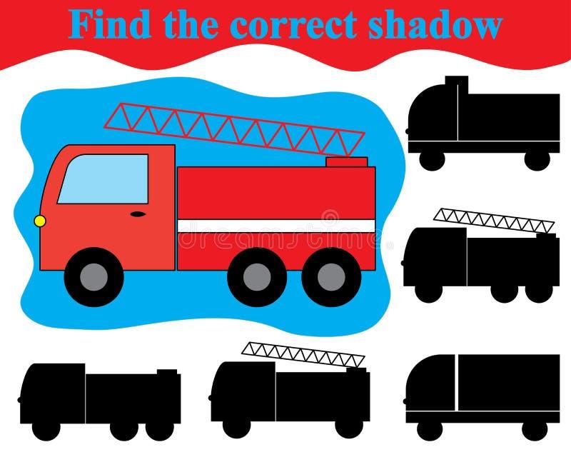 Juego visual para los niños Encuentre la sombra correcta del transporte del coche de bomberos stock de ilustración