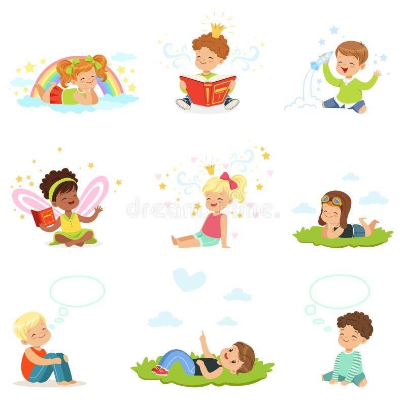 Juego y sueño felices y preciosos de niños Ejemplos coloridos detallados de la historieta ilustración del vector