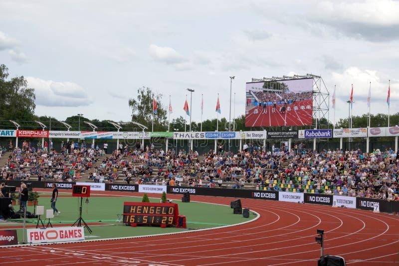 Juegos de FBK en Fanny Blankers Koen Stadium en Hengelo fotografía de archivo libre de regalías