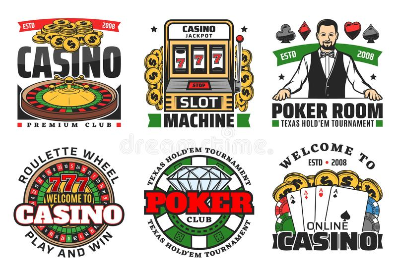Juegos de juego del casino Ruleta, tarjetas del póker, dados libre illustration