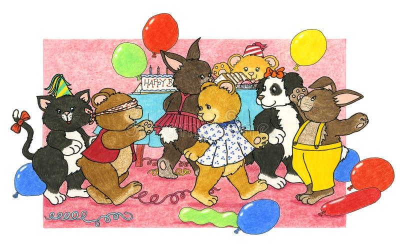 Juegos de la fiesta de cumpleaños ilustración del vector