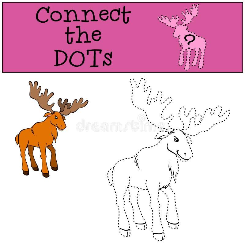 Juegos de los niños: Conecte los puntos Alces buenos lindos stock de ilustración