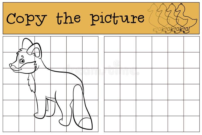 Juegos de los niños: Copie la imagen Pequeñas sonrisas lindas del zorro del bebé ilustración del vector