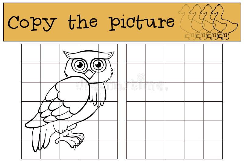 Juegos de los niños: Copie la imagen Pequeño búho lindo libre illustration