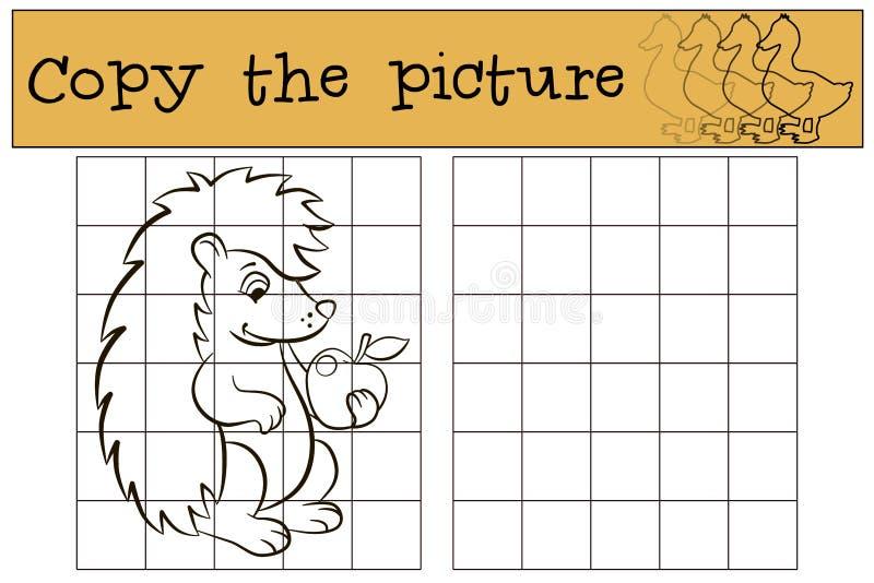 Juegos de los niños: Copie la imagen Pequeño erizo lindo stock de ilustración