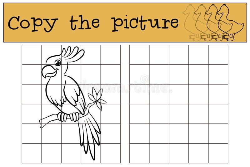 Juegos de los niños: Copie la imagen Pequeño loro lindo ilustración del vector