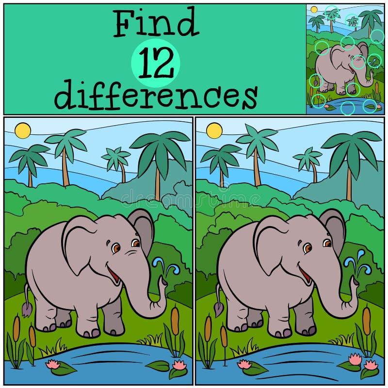 Juegos de los niños: Diferencias del hallazgo Elefante bueno lindo libre illustration