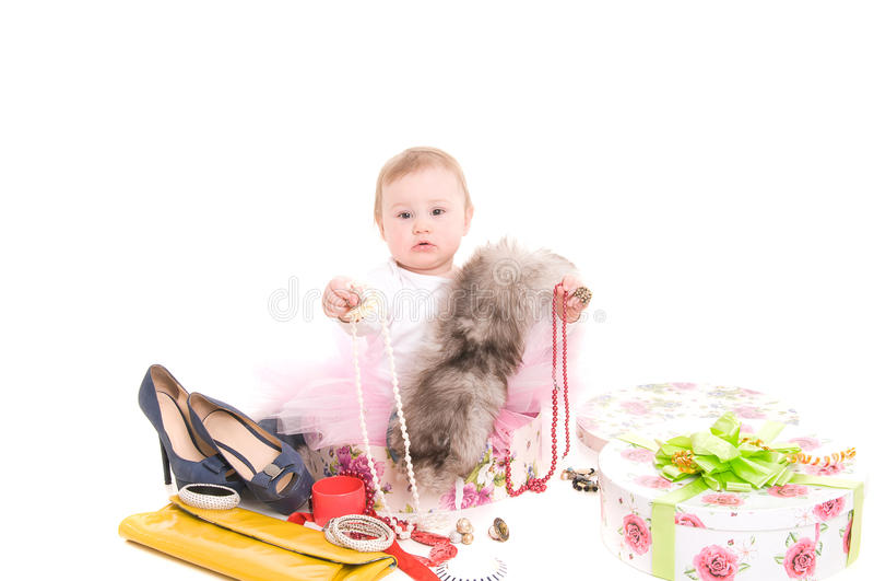 Juegos de niños con joyería imagen de archivo libre de regalías