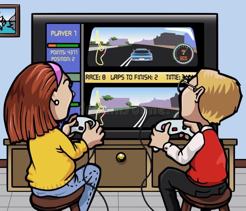 Juegos de video el competir con de coche ilustración del vector
