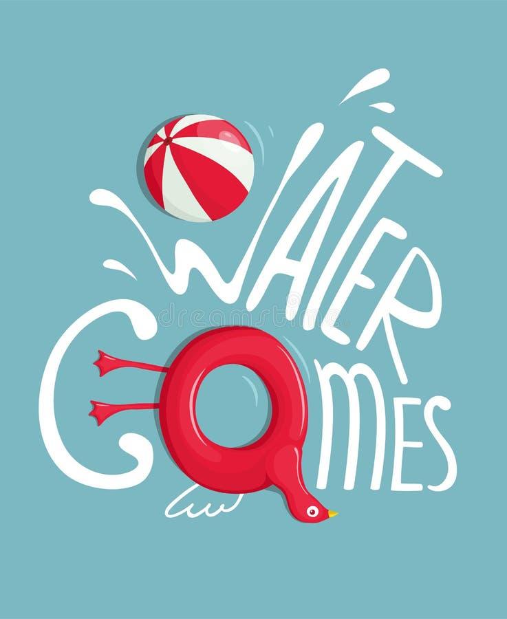Juegos del agua con el cartel de las letras de Inflatables stock de ilustración