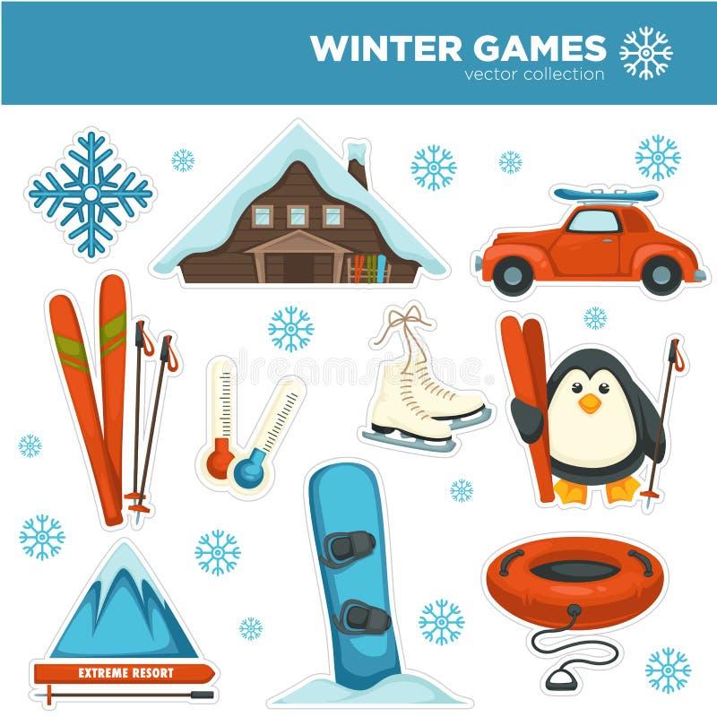 Juegos del invierno, deportes y aficiones del pasatiempo fijadas con los copos de nieve libre illustration
