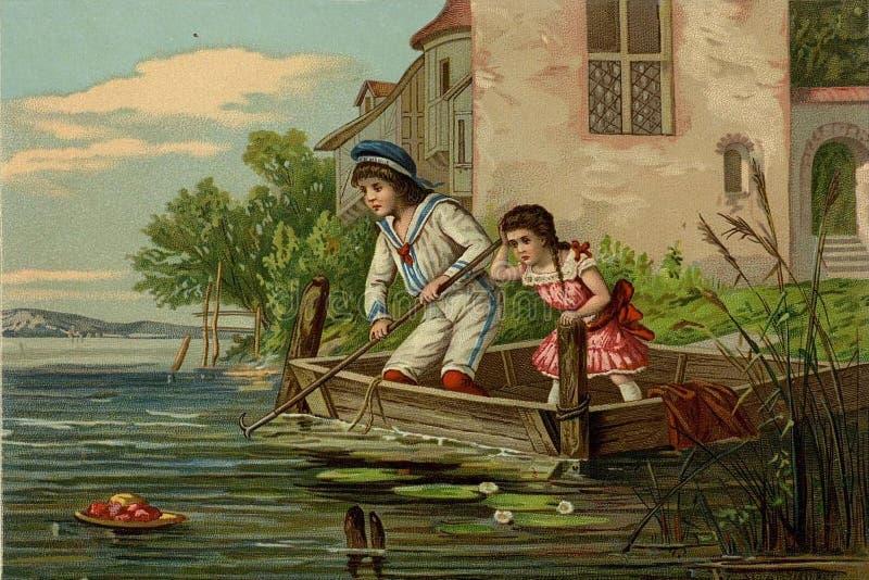 juegos del ` s de los niños Navegación en un barco libre illustration
