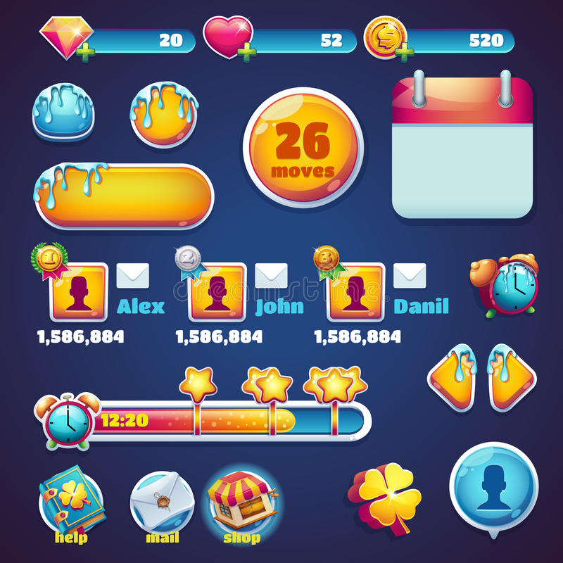 Juegos determinados móviles del web de los elementos del GUI del mundo dulce libre illustration