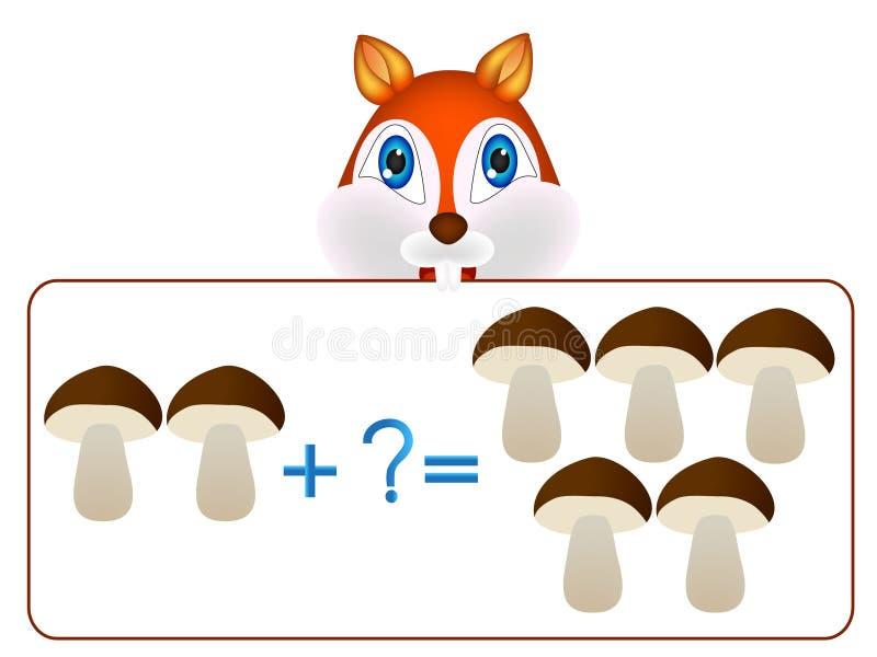 Juegos educativos para la adición matemática del ejemplo de los niños stock de ilustración