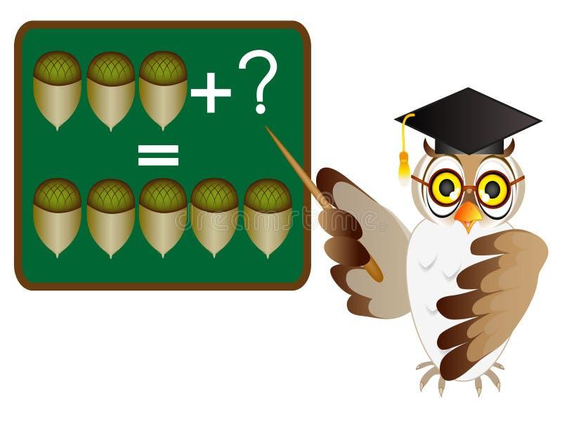 Juegos educativos para los niños, adición matemática del ejemplo de la historieta con el profesor del búho libre illustration