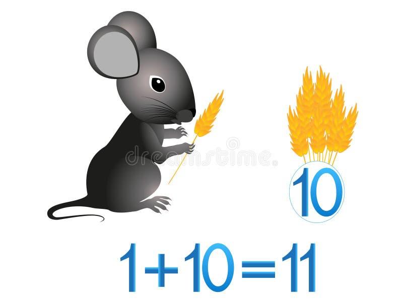 Juegos educativos para los niños, adición matemática, ejemplo con las espiguillas stock de ilustración