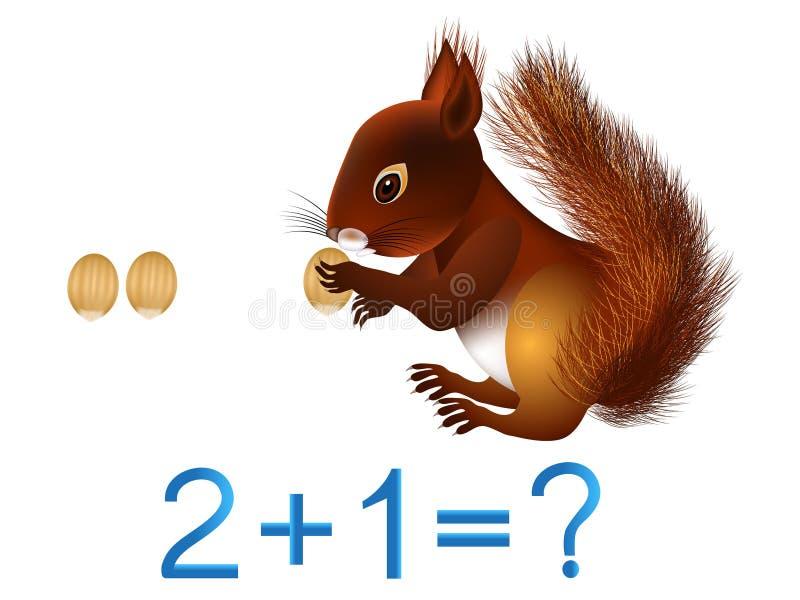 Juegos educativos para los niños, adición matemática, ejemplo con las nueces stock de ilustración