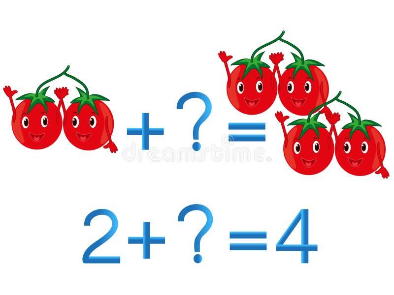 Juegos educativos para los niños, adición matemática, ejemplo con los tomates ilustración del vector