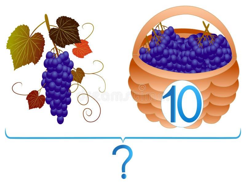 Juegos educativos para los niños, adición matemática, ejemplos con las uvas ilustración del vector