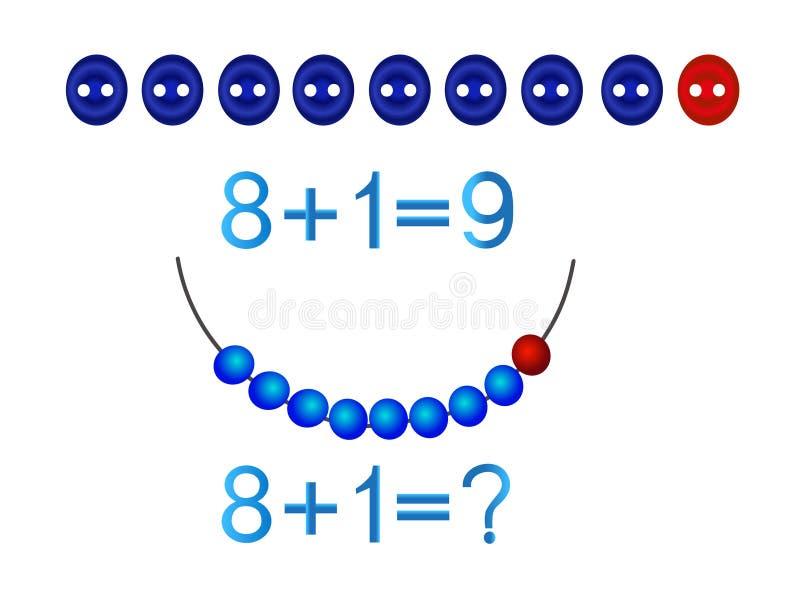 Juegos educativos para los niños, adición matemática, formación número nueve ilustración del vector