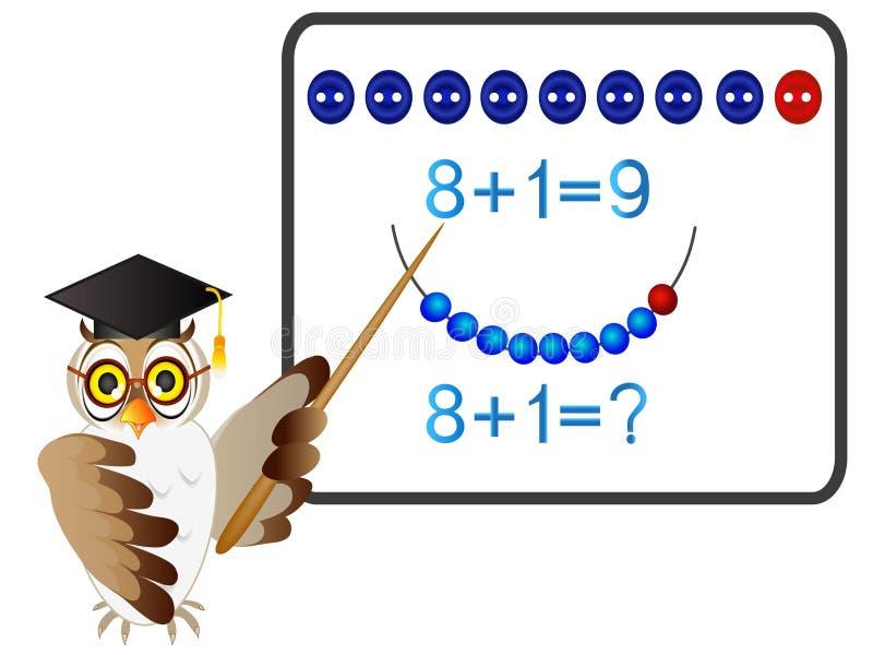 Juegos educativos para los niños, adición matemática, formación número nueve, con el profesor del búho ilustración del vector