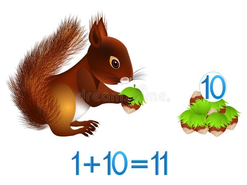 Juegos educativos para los niños, la adición matemática, el ejemplo con una ardilla y las avellanas ilustración del vector
