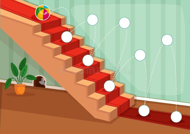 Juegos imprimibles educativos para el desarrollo de las habilidades de motor finas en niños ilustración del vector