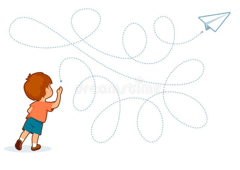 Juegos imprimibles educativos para el desarrollo de las habilidades de motor finas en niños stock de ilustración