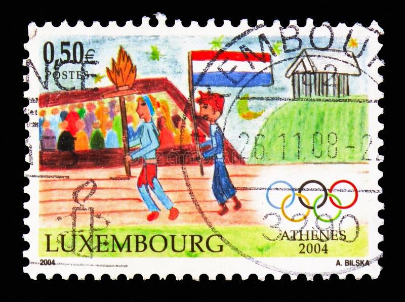 Juegos Olímpicos del verano - Atenas, serie del deporte, circa 2004 imagen de archivo