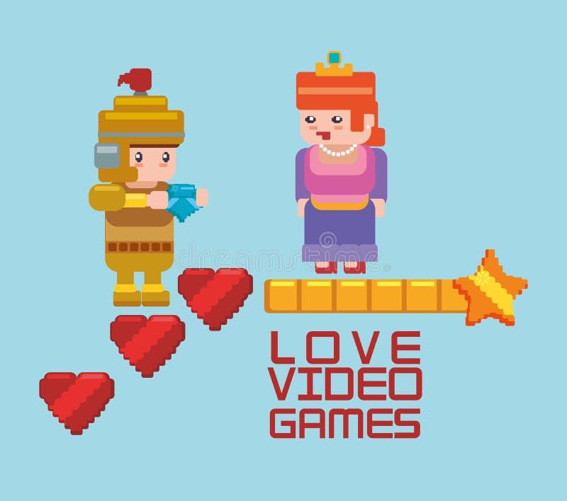 juegos onlines princesa del amor y corazón del caballero stock de ilustración