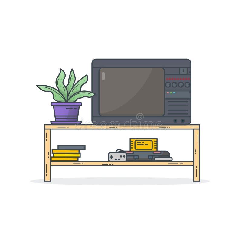 Juegos retros de la consola stock de ilustración