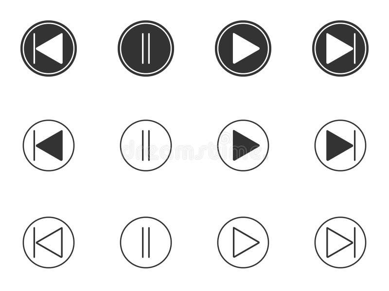 Juegue, deténgase brevemente, los iconos delanteros, posteriores de los botones fijados stock de ilustración