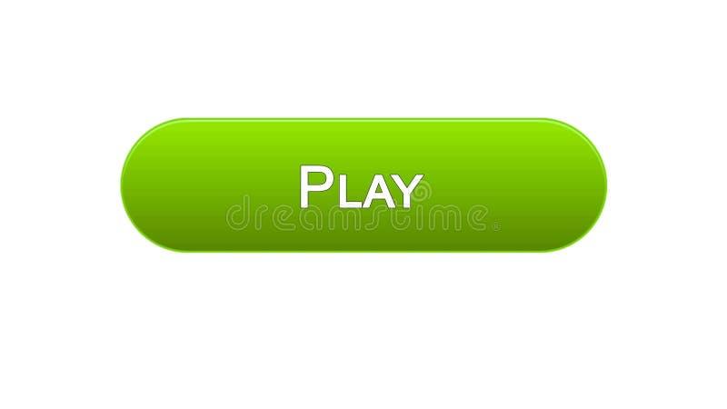 Juegue el color verde del botón del interfaz del web, uso del juego online, programa video stock de ilustración
