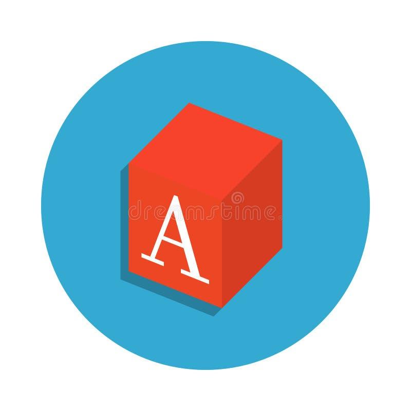 juegue la caja con la letra de A coloreada en icono azul de la insignia Elemento del icono de la escuela para los apps móviles de libre illustration