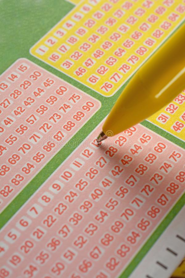 Juegue la lotería eligiendo los números foto de archivo libre de regalías