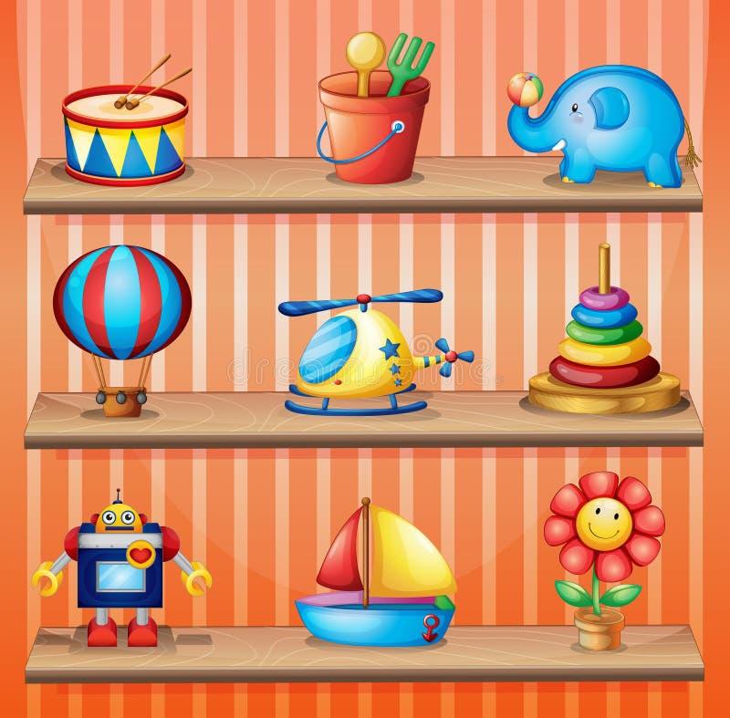 Juegue las colecciones que se arreglan correctamente en los estantes de madera stock de ilustración