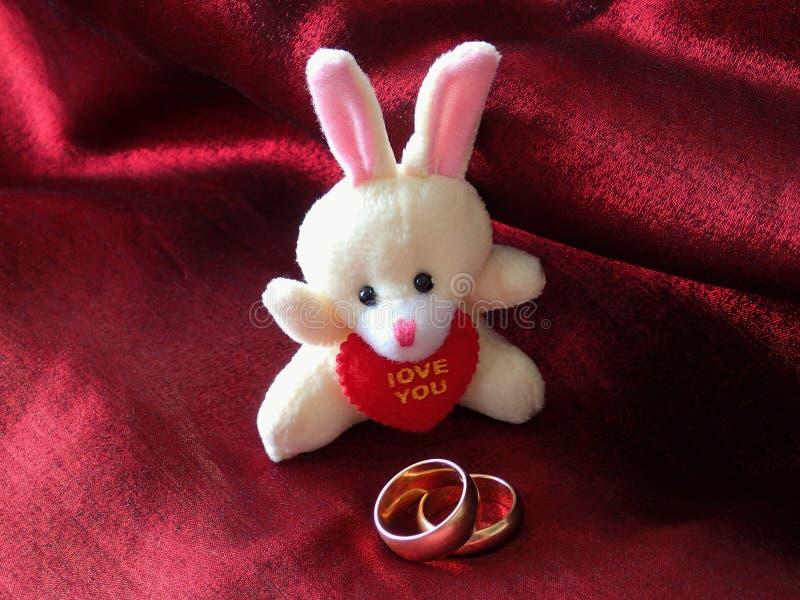 Juegue las liebres y dos anillos de bodas en un paño rojo imagen de archivo libre de regalías