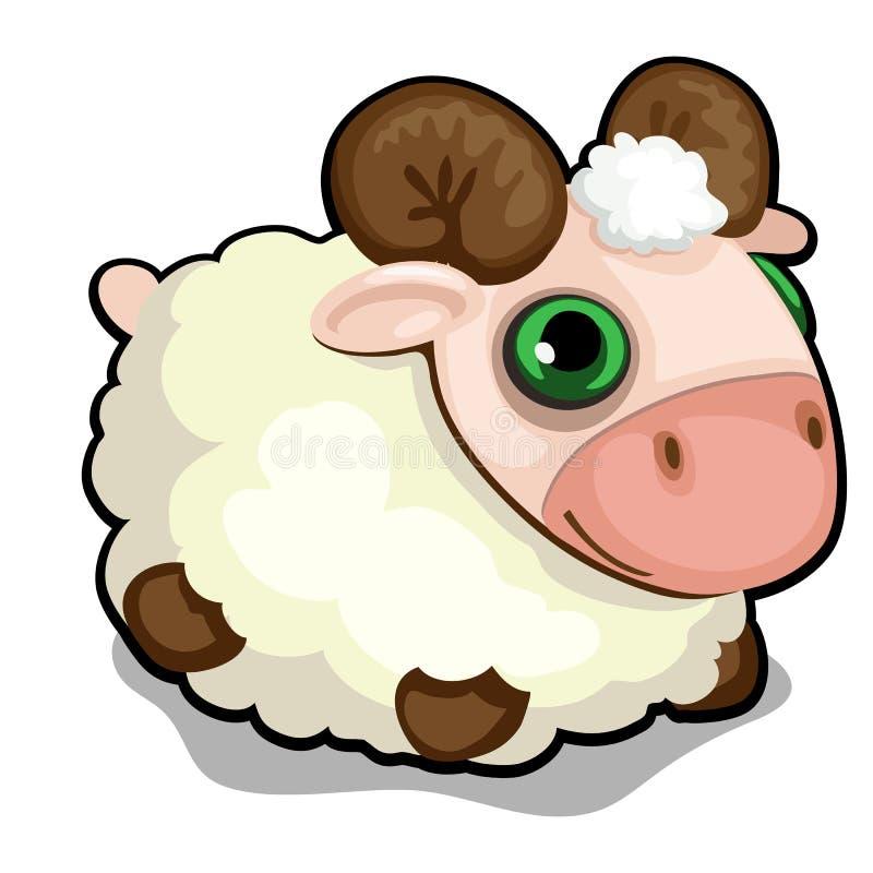 Juegue las ovejas con los ojos verdes aislados en el fondo blanco Ejemplo del primer de la historieta del vector stock de ilustración