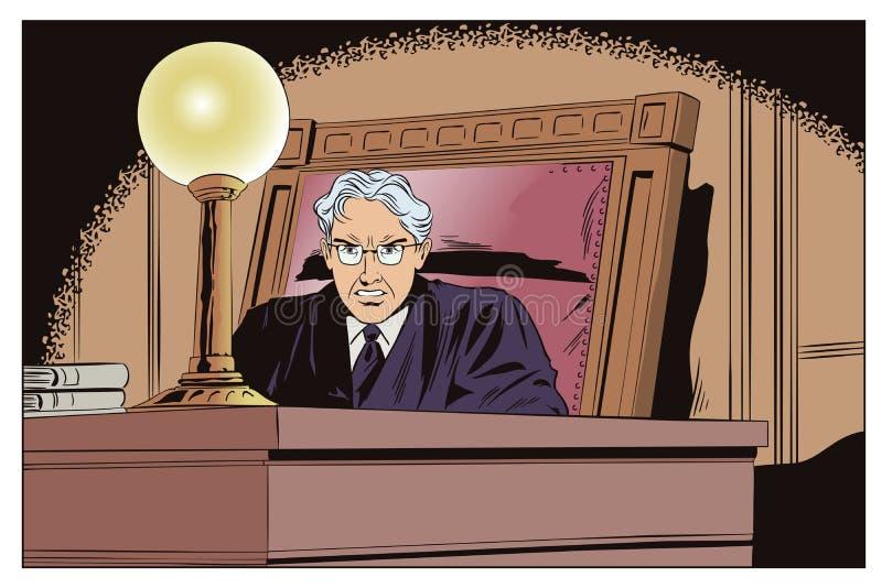 Juez In Courtroom Ilustración común stock de ilustración