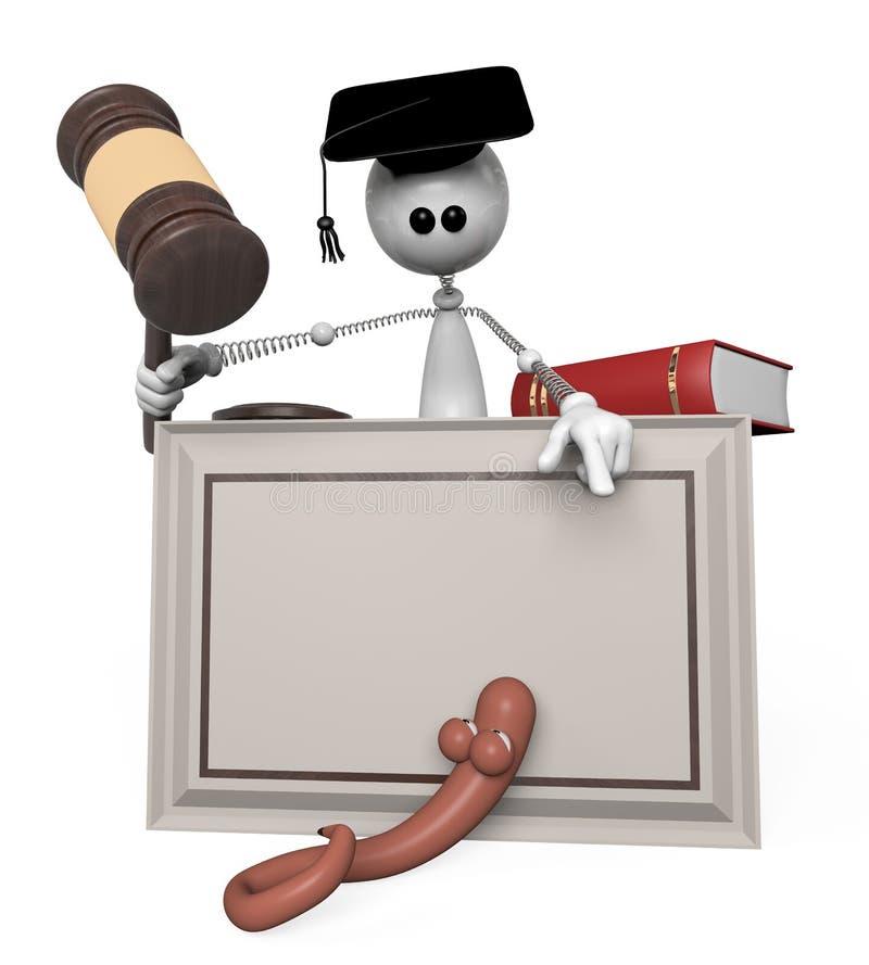 juez de la persona blanca 3d. stock de ilustración