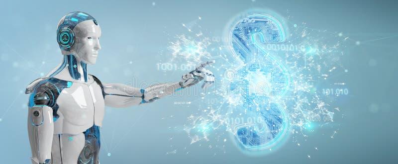 Juez del Cyborg que usa 3D que rinde símbolo digital de la ley del párrafo ilustración del vector