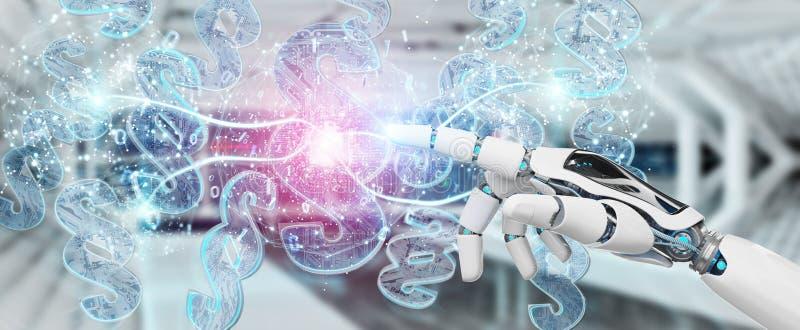 Juez del Cyborg que usa 3D que rinde s?mbolo digital de la ley del p?rrafo ilustración del vector
