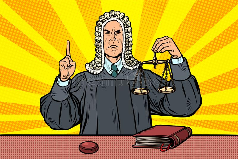 Juez en una peluca Escalas de la justicia ilustración del vector