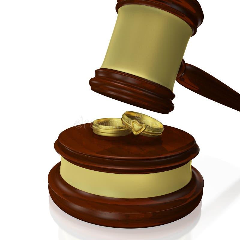 Juez Gavel Mallet de los anillos de bodas libre illustration