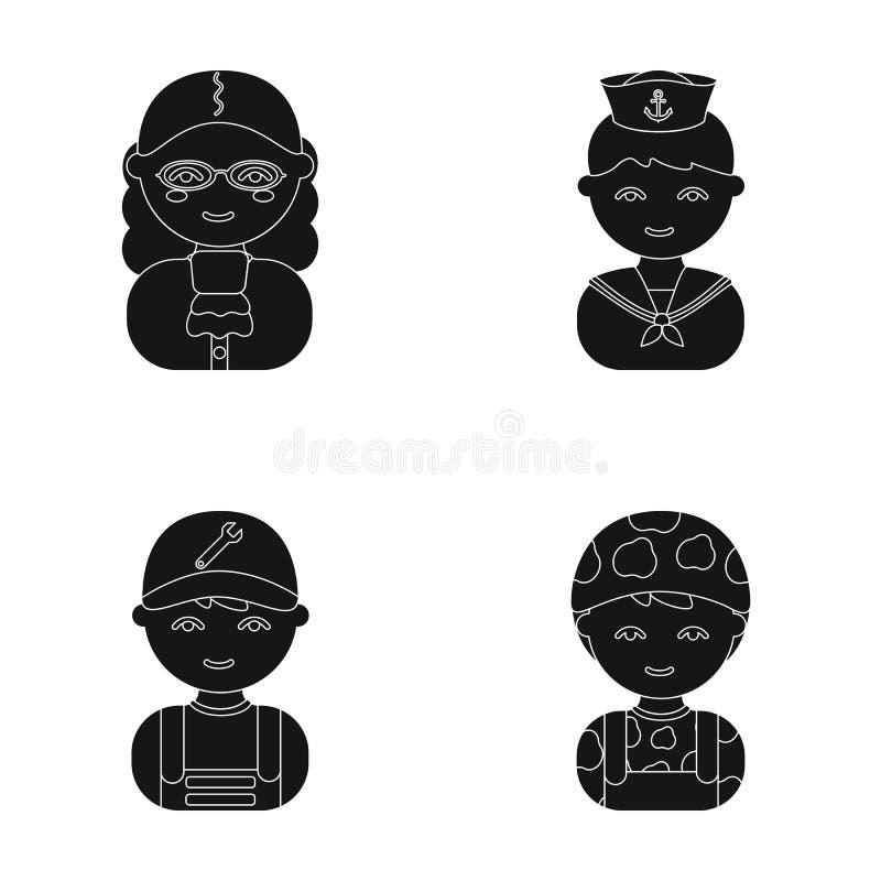 Juez, marinero, soldado, mecánico Los iconos determinados de la colección de la profesión en estilo de la historieta vector el we stock de ilustración
