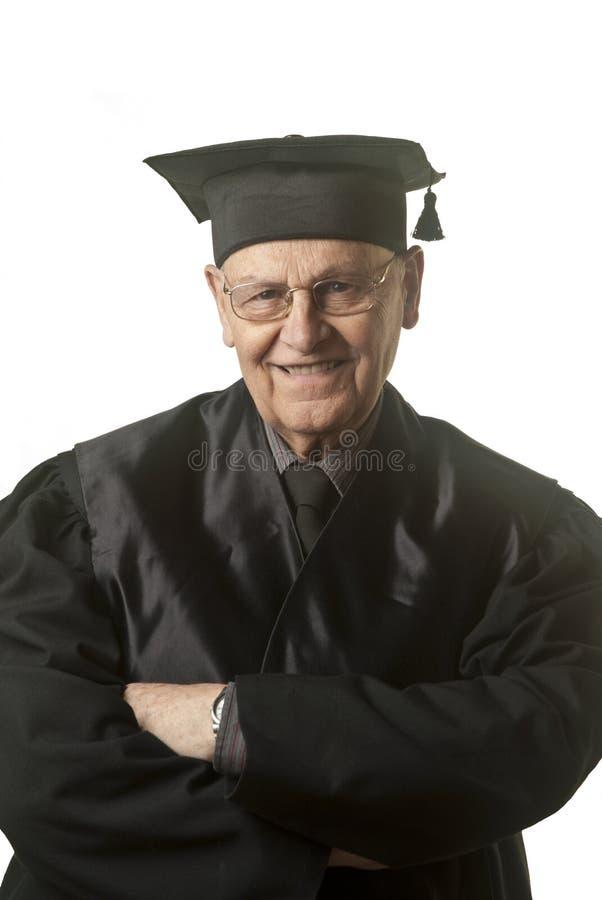 Juez mayor que sonríe en usted foto de archivo